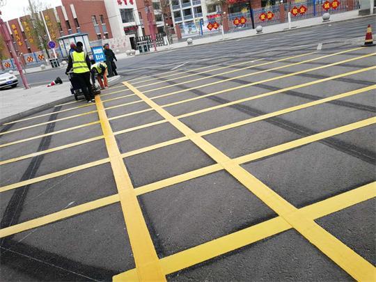 内蒙古道路标线施工禁止车辆入内网格线